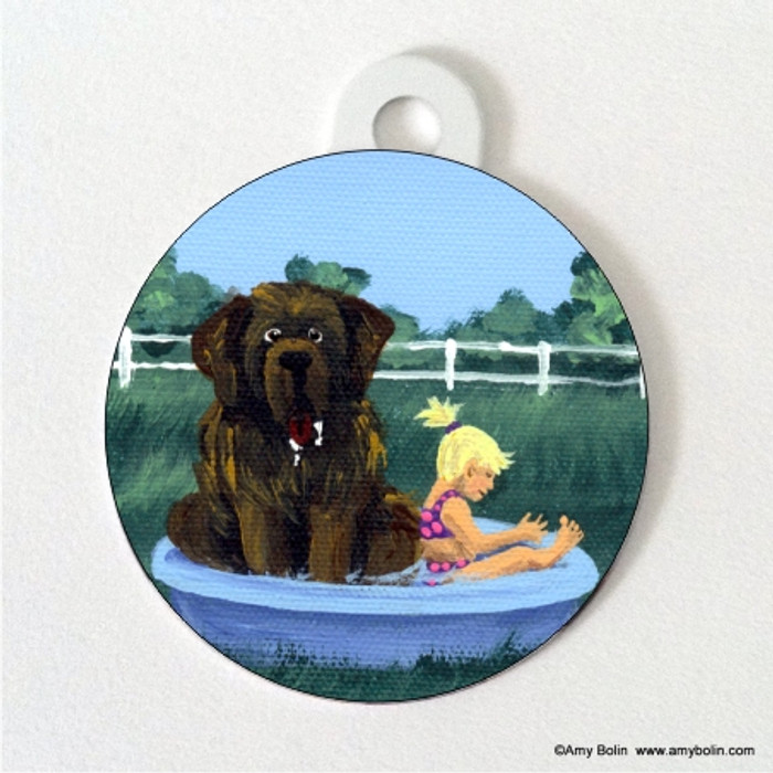 DOUBLE SIDED PET ID TAG · BATHING BEAUTIES · BROWN  NEWFOUNDLAND · AMY BOLIN