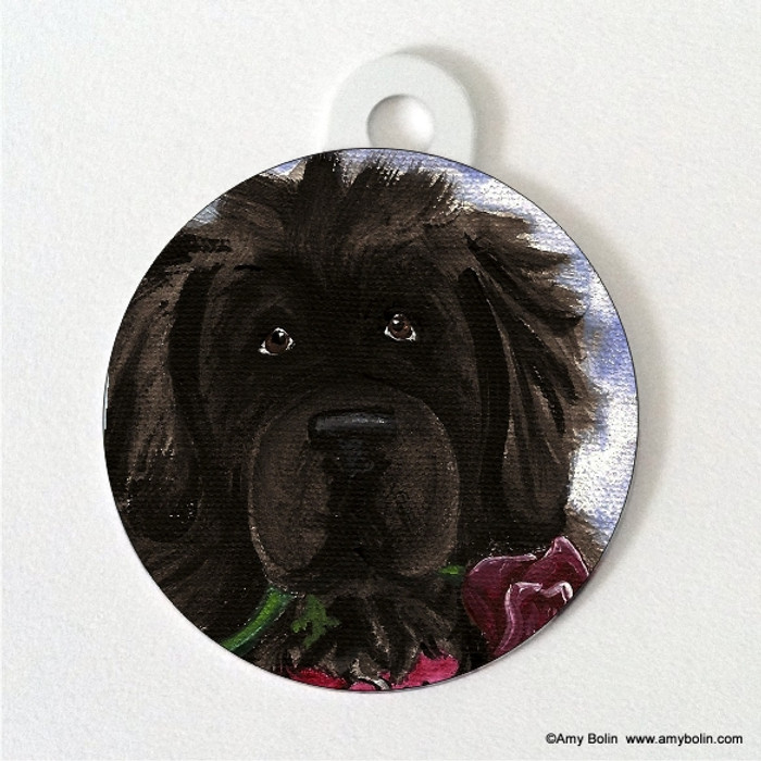 DOUBLE SIDED PET ID TAG · BE MINE · BLACK  NEWFOUNDLAND · AMY BOLIN