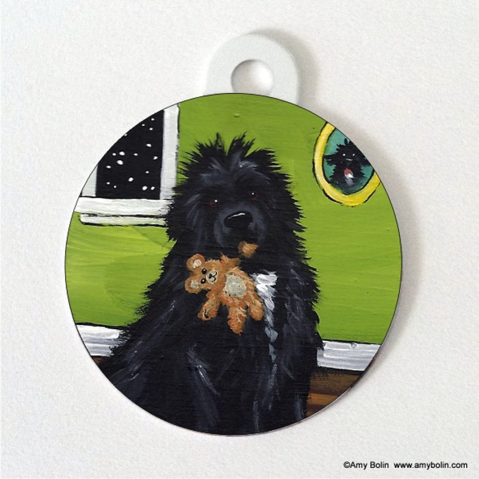 DOUBLE SIDED PET ID TAG · BEDTIME BUDDIES · IRISH SPOTTED  NEWFOUNDLAND · AMY BOLIN