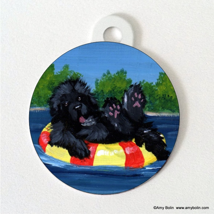DOUBLE SIDED PET ID TAG · DOG DAYS · BLACK  NEWFOUNDLAND · AMY BOLIN