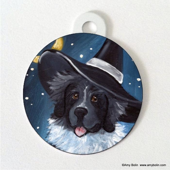 DOUBLE SIDED PET ID TAG · HAPPY HALLOWEEN · LANDSEER NEWFOUNDLAND · AMY BOLIN
