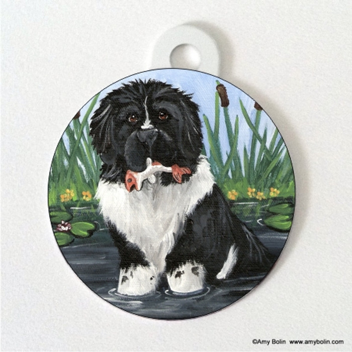 DOUBLE SIDED PET ID TAG · IN MOM'S POND · LANDSEER  NEWFOUNDLAND · AMY BOLIN