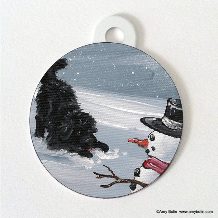 DOUBLE SIDED PET ID TAG · MY SNOWY FRIEND · BLACK  NEWFOUNDLAND · AMY BOLIN