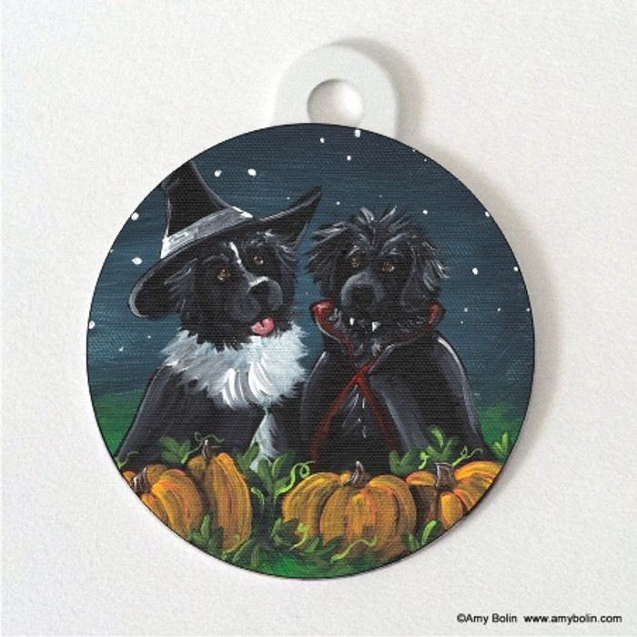 DOUBLE SIDED PET ID TAG · TRICK OR TREAT · BLACK AND LANDSEER  NEWFOUNDLAND · AMY BOLIN