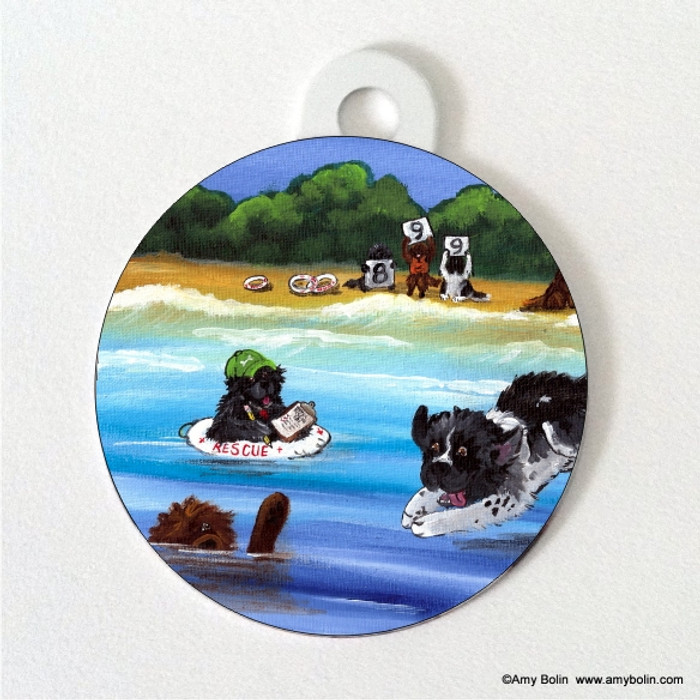 DOUBLE SIDED PET ID TAG · WATER RESCUE 101 · BLACK, BROWN AND LANDSEER  NEWFOUNDLAND · AMY BOLIN