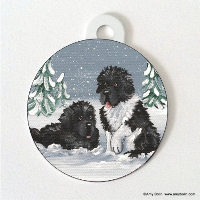 DOUBLE SIDED PET ID TAG · WINTER BUDDIES · BLACK AND LANDSEER  NEWFOUNDLAND · AMY BOLIN