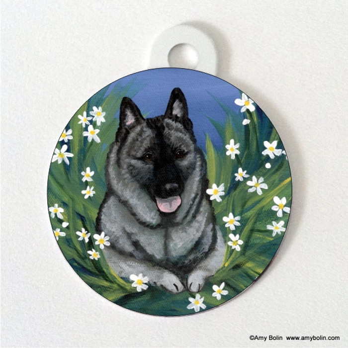 DOUBLE SIDED PET ID TAG · DAISIES 1 · NORWEGIAN ELKHOUND · AMY BOLIN
