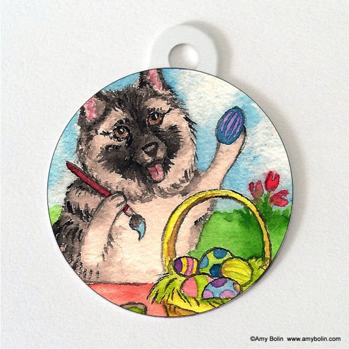 DOUBLE SIDED PET ID TAG · EASTER EGG ARTIST · NORWEGIAN ELKHOUND · AMY BOLIN
