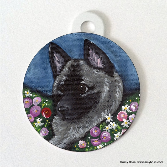 DOUBLE SIDED PET ID TAG · MOM'S FAVORITE  DAISY · NORWEGIAN ELKHOUND · AMY BOLIN
