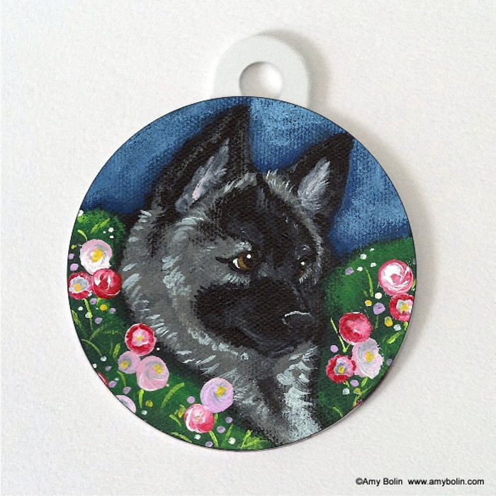 DOUBLE SIDED PET ID TAG · MOM'S FAVORITE  FLOWER · NORWEGIAN ELKHOUND · AMY BOLIN