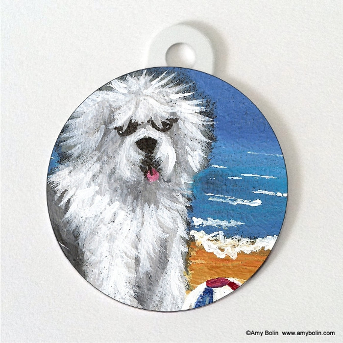 DOUBLE SIDED PET ID TAG · BEACH BUM  · OLD ENGLISH SHEEPDOG · AMY BOLIN