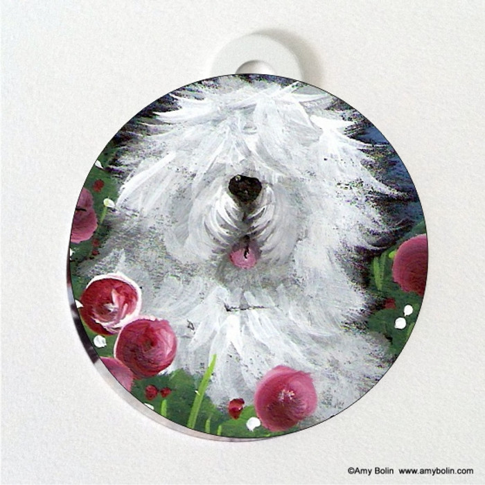 DOUBLE SIDED PET ID TAG · MOM'S FAVORITE FLOWER  · OLD ENGLISH SHEEPDOG · AMY BOLIN