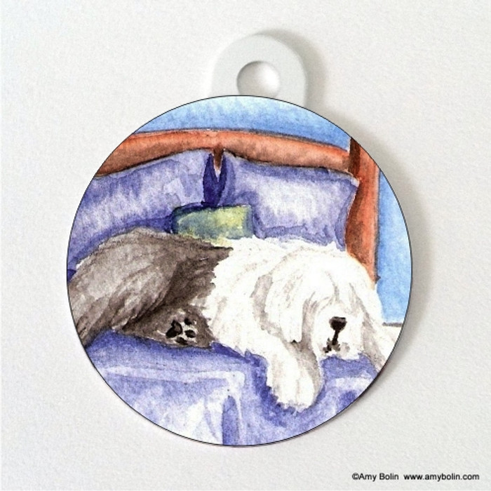 DOUBLE SIDED PET ID TAG · THE KING ON HIS THRONE  · OLD ENGLISH SHEEPDOG · AMY BOLIN