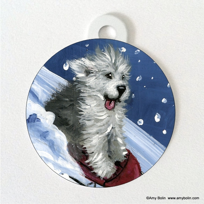 DOUBLE SIDED PET ID TAG · THE SLED RIDE  · OLD ENGLISH SHEEPDOG · AMY BOLIN