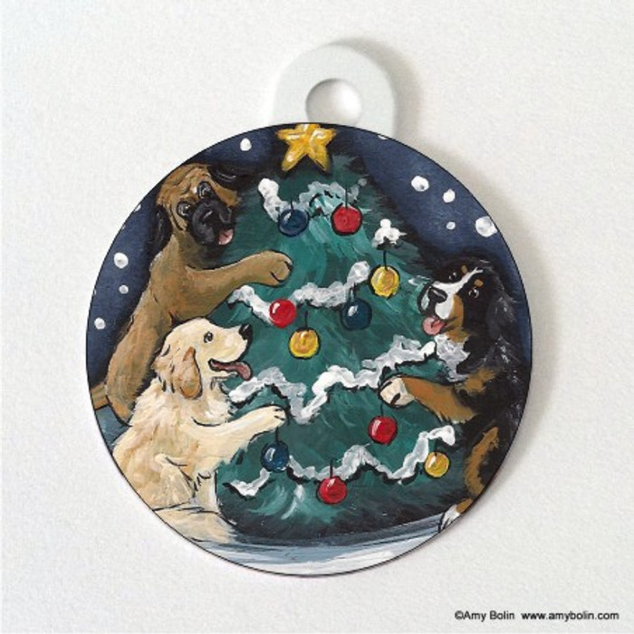 DOUBLE SIDED PET ID TAG · CHRISTMAS TOGETHER · BERNESE MOUNTAIN DOG, GOLDEN RETRIEVER, MASTIFF · AMY BOLIN