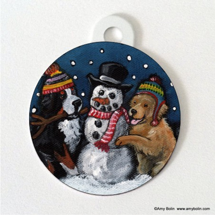 DOUBLE SIDED PET ID TAG · FRIENDS OF SNOW NEED LOVE TO GROW · BERNESE MOUNTAIN DOG, GOLDEN RETRIEVER · AMY BOLIN