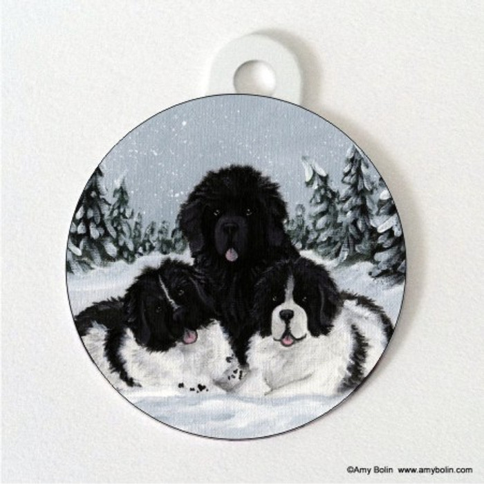 DOUBLE SIDED PET ID TAG · WINTER BUDDIES 2 · BLACK AND LANDSEER  NEWFOUNDLAND · AMY BOLIN