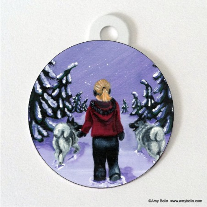 DOUBLE SIDED PET ID TAG · A SNOWY WALK · NORWEGIAN ELKHOUND · AMY BOLIN
