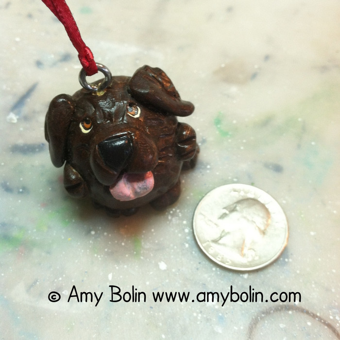 PUDGIE ORNAMENT!  BROWN NEWFOUNDLAND · HAND MADE MINIATURE SCULPTURE · AMY BOLIN