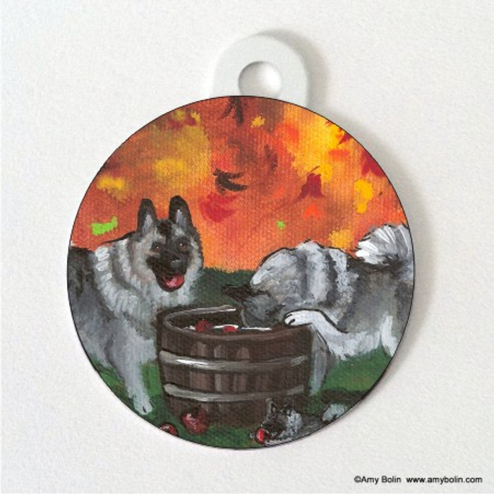 DOUBLE SIDED PET ID TAG · BOBBING FOR APPLES · NORWEGIAN ELKHOUND · AMY BOLIN