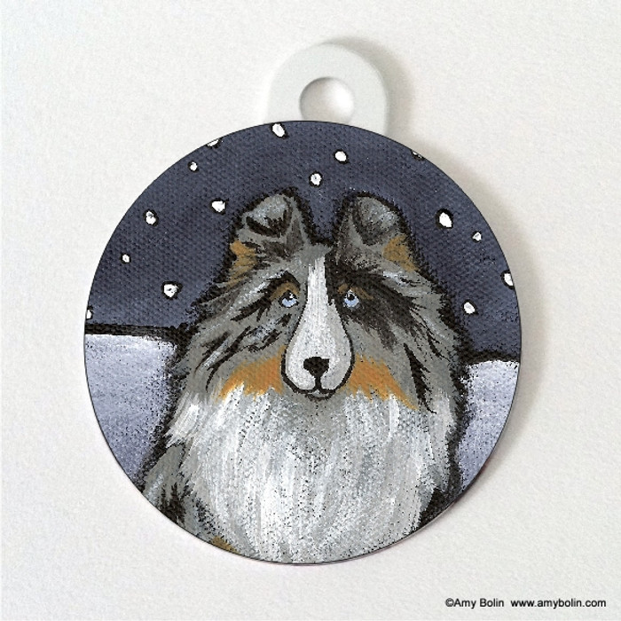 DOUBLE SIDED PET ID TAG · IN THE SNOW AGAIN · BLUE MERLE SHELTIE · AMY BOLIN