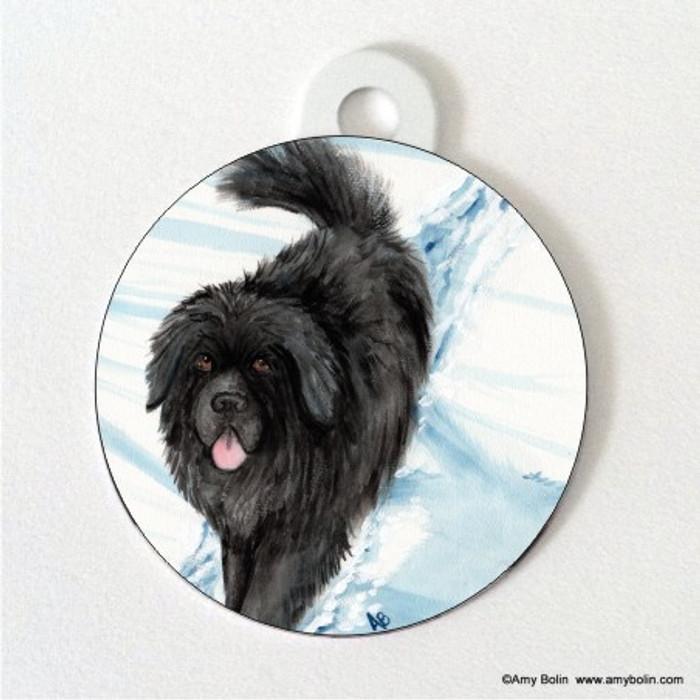 DOUBLE SIDED PET ID TAG · SNOW SHADOW · BLACK NEWFOUNDLAND · AMY BOLIN