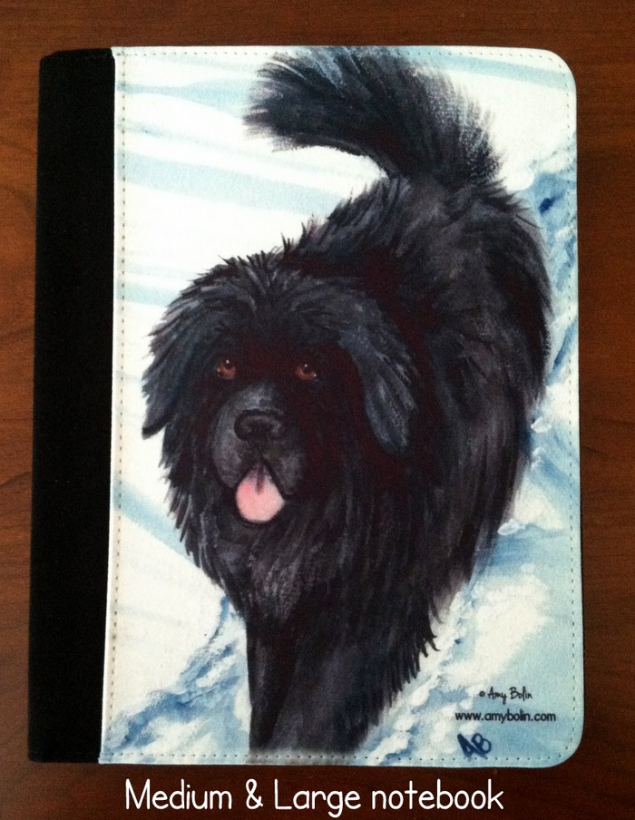 NOTEBOOKS (SEVERAL SIZES AVAILABLE) · SNOW SHADOW · BLACK NEWFOUNDLAND · AMY BOLIN