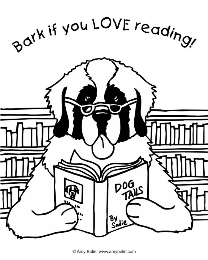 "FREE COLORING SHEET DOWNLOAD · ""Dog Tails"" BARK IF YOU LOVE READING · SAINT BERNARD · AMY BOLIN"