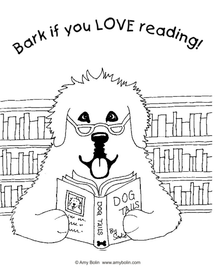 "FREE COLORING SHEET DOWNLOAD · ""Dog Tails"" BARK IF YOU LOVE READING · NEWFOUNDLAND · AMY BOLIN"