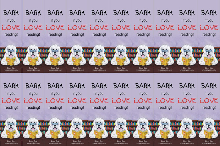 """FELT BOOKMARKS · DOG TAILS VOL 2 """"BARK IF YOU LOVE READING"""" · GREAT PYRENEES · AMY BOLIN"""