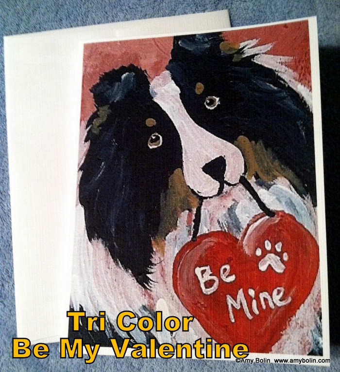NOTE CARDS · BE MY VALENTINE · TRI COLOR SHELTIE · AMY BOLIN