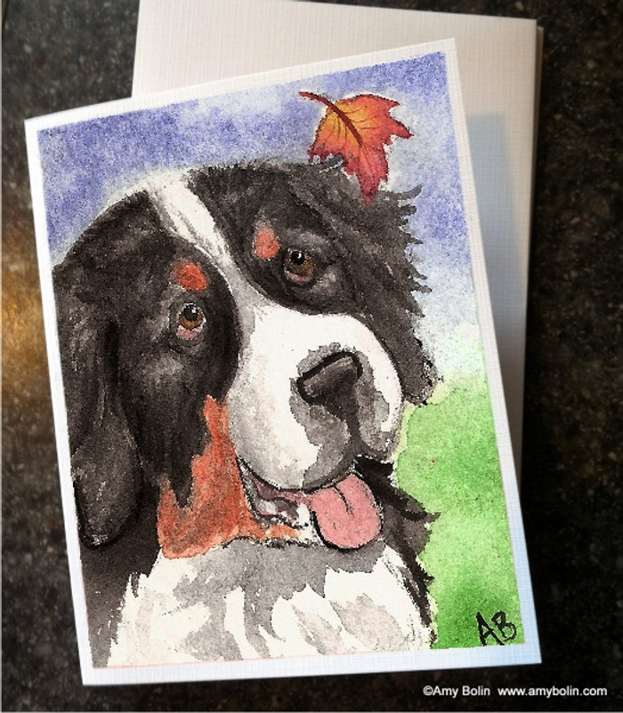 """Autumn Berner"" Bernese Mountain Dog Note Cards"