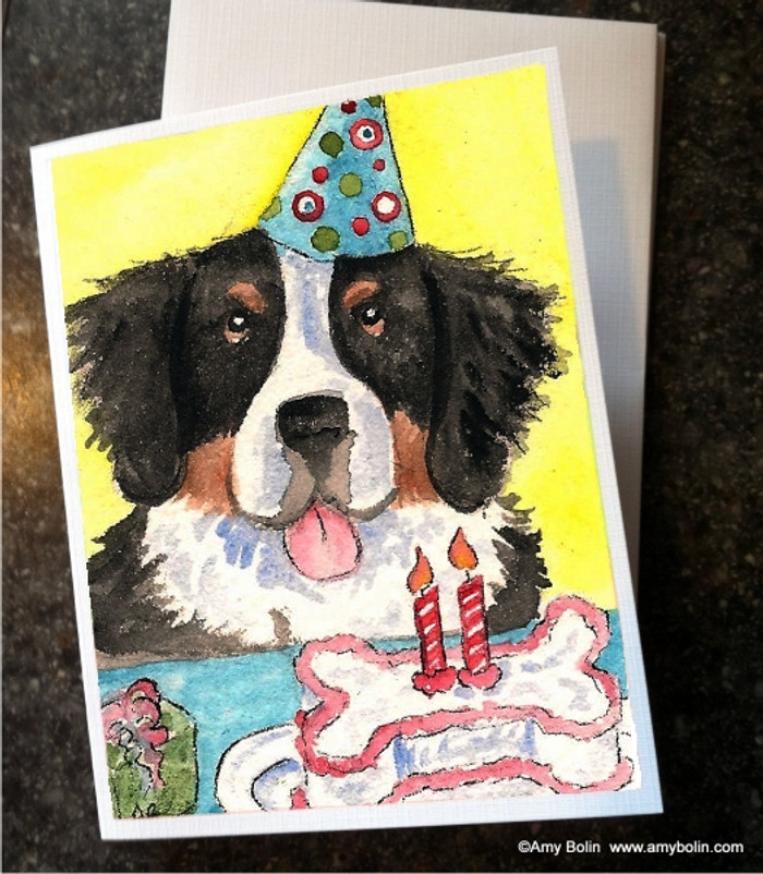 """""""Birthday: Happy Birthday To You"""" Bernese Mountain Dog Note Cards"""