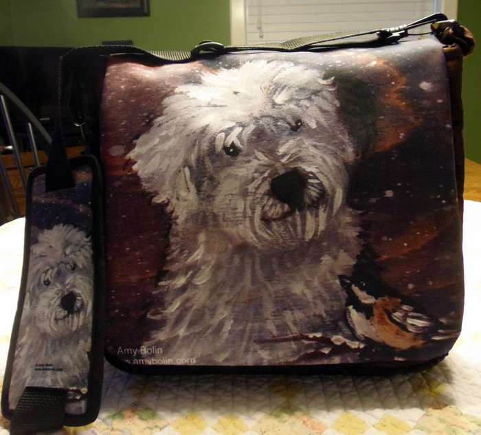 """Quilted Mailbag   """"'Winter Buddies""""   Old English Sheepdog   By Dawn Johnson"""