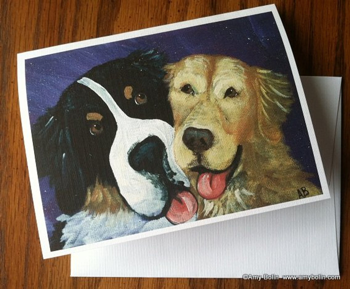NOTE CARDS · BE MINE · BERNESE MOUNTAIN DOG, GOLDEN RETRIEVER · AMY BOLIN