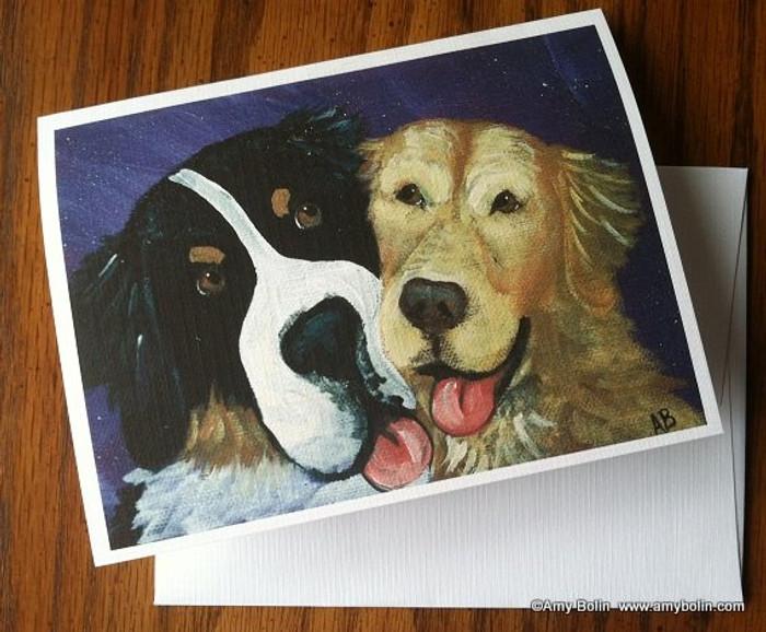 """Be Mine"" Bernese Mountain Dog, Golden Retriever Note Cards"