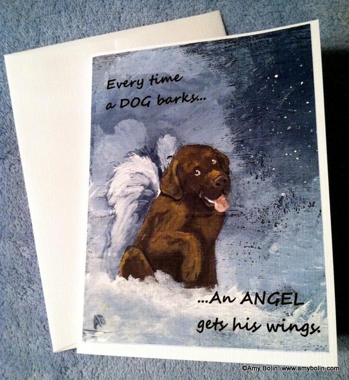 """Dog Barks & Angel Wings"" Chocolate Labrador Retriever Note Cards"