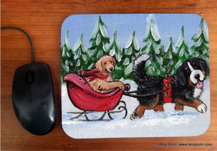 MOUSE PAD · A WINTRY RIDE · BERNESE MOUNTAIN DOG, GOLDEN RETRIEVER· AMY BOLIN