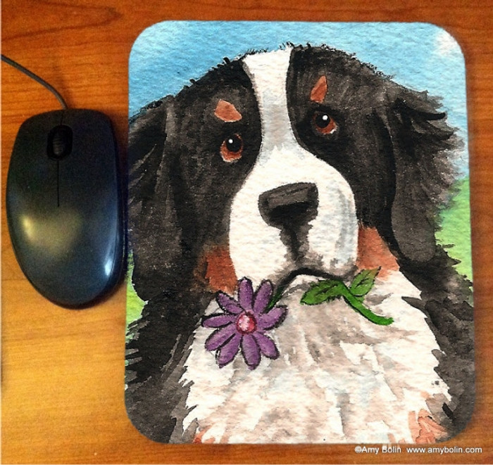 MOUSE PAD · I SAW THIS FLOWER · BERNESE MOUNTAIN DOG · AMY BOLIN