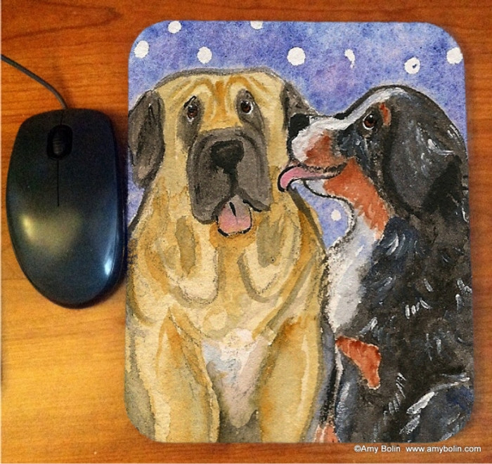 MOUSE PAD · LITTLE KISS · BERNESE MOUNTAIN DOG, MASTIFF · AMY BOLIN