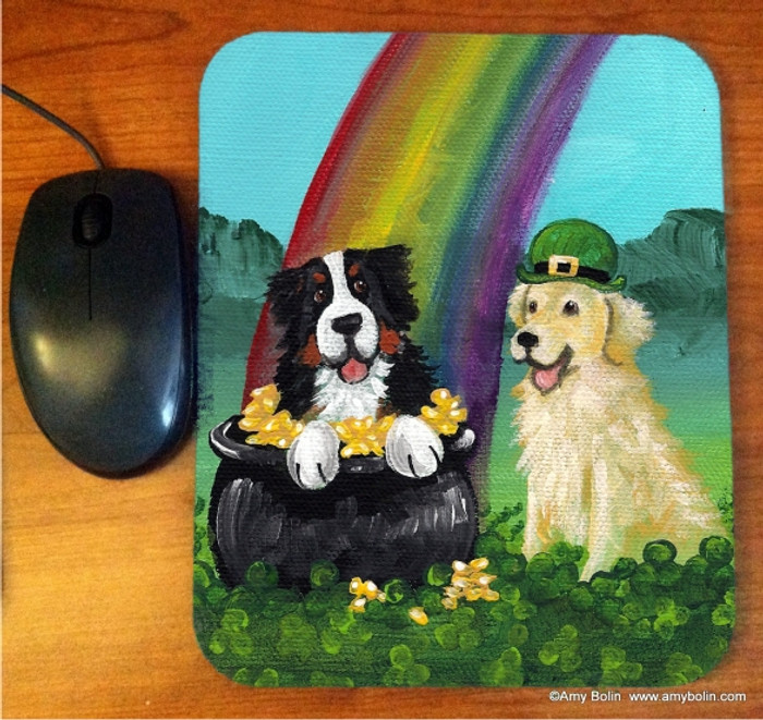 MOUSE PAD · MY POT O' GOLD · BERNESE MOUNTAIN DOG, GOLDEN RETRIEVER  · AMY BOLIN