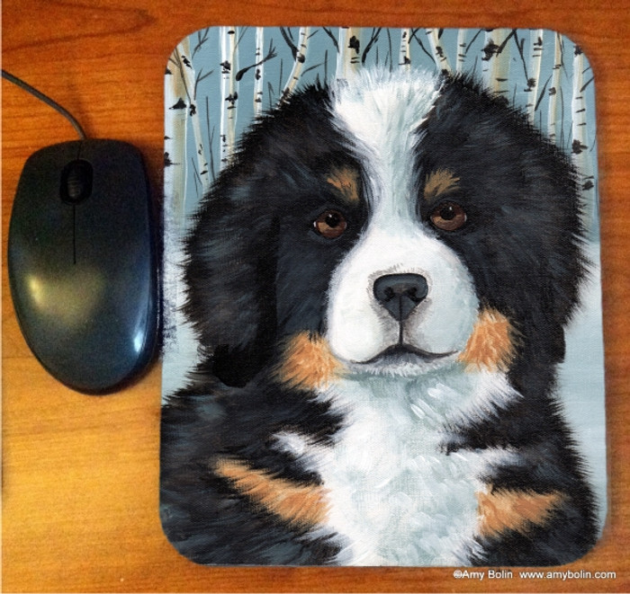 MOUSE PAD · PUPPY EYES · BERNESE MOUNTAIN DOG   · AMY BOLIN