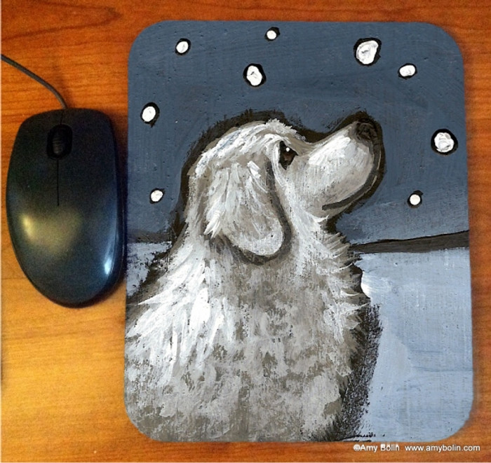 MOUSE PAD · COUNTING SNOWFLAKES · GREAT PYRENEES   · AMY BOLIN