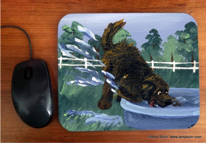 MOUSE PAD · DIGGIN' IT · BROWN NEWFOUNDLAND · AMY BOLIN