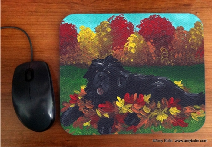 MOUSE PAD · HAPPINESS IS A PILE OF LEAVES · BLACK NEWFOUNDLAND · AMY BOLIN