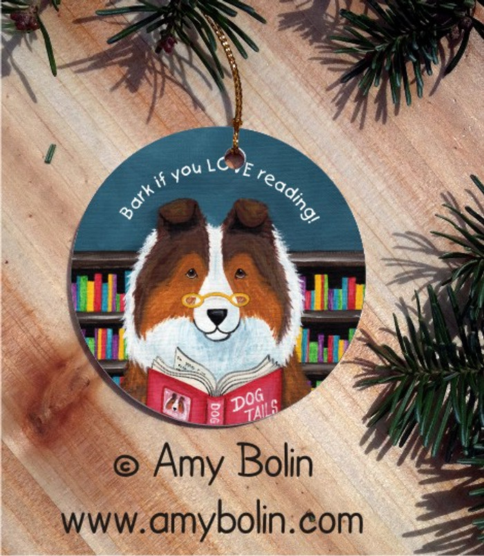 CERAMIC ORNAMENT · DOG TAILS VOL 3 · SABLE SHELTIE · AMY BOLIN
