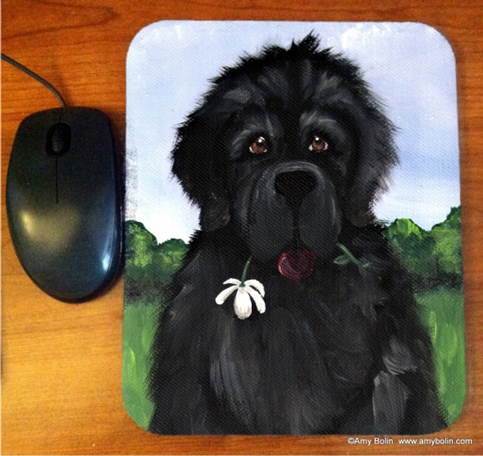 MOUSE PAD · I SAW THIS FLOWER & THOUGHT OF YOU · BLACK NEWFOUNDLAND · AMY BOLIN