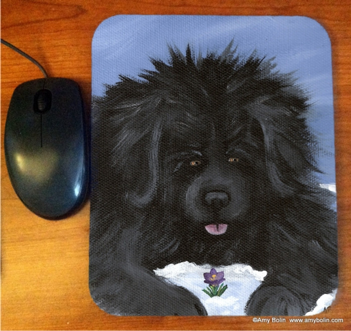 MOUSE PAD · SPRING IS IN THE AIR · BLACK NEWFOUNDLAND · AMY BOLIN