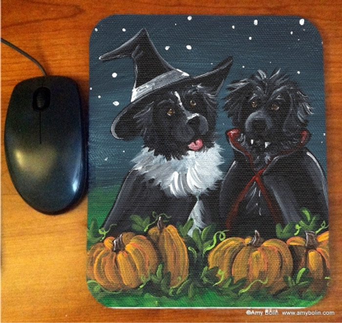 MOUSE PAD · TRICK OR TREAT · BLACK AND  LANDSEER NEWFOUNDLAND · AMY BOLIN