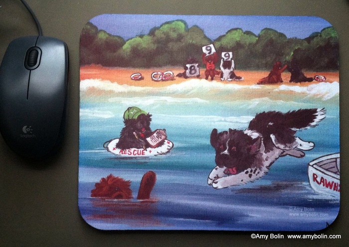 MOUSE PAD · WATER RESCUE 101 · BLACK, BROW, LANDSEER NEWFOUNDLAND · AMY BOLIN
